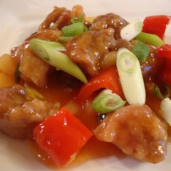 Sweet and Sour Pork III Recipe - Cubed pork and stir-fried vegetables are coated in a mouthwatering sweet and sour sauce prepared with simple ingredients.