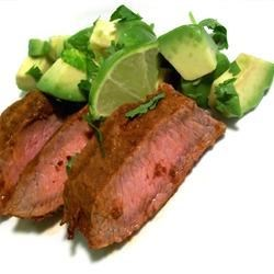 Flat Iron Steak with Three Pepper Rub Recipe - A simple blend of spices combines to make a wonderful rub for steak.  Can be used on any steak but it's best on flat iron or flank steak.
