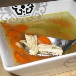 Quick Chicken Soup Recipe - This is a quick and easy recipe, yet it makes a tasty, mostly homemade chicken soup.