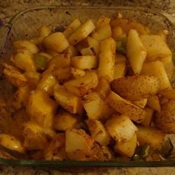 Roasted Potatos with green peppers and onions