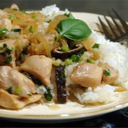 Thai Chicken with Basil Stir Fry Recipe - Chicken strips in a basil and coconut milk sauce are served over jasmine rice.