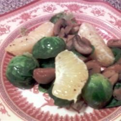 Brussels Sprouts and Chestnuts Recipe - Brussels sprouts and chestnuts are baked with orange slices in this healthy side dish.