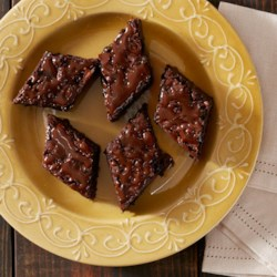 Double Chocolate Caramel Brownies Recipe - Rich, double-chocolate brownies are drizzled with a caramel-espresso sauce just before serving.