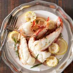 Tarragon and Lemon Lobster Scampi Recipe - Individual serving packets of lobster tail, pieces of corn on the cob, onions, lemon, and tarragon make an easy and delicious gourmet meal.