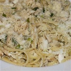 Chicken and Onions Over Linguini