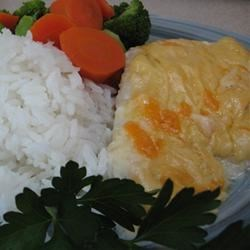 Haddock Au Gratin Recipe - Haddock baked in a cream sauce seasoned with mustard and Cheddar and Monterey Jack cheeses.