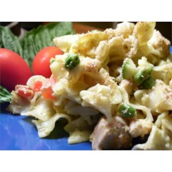 Cheesy Tuna Noodle Casserole Recipe - This home-style favorite is full of tuna, onion, green and red bell pepper, and noodles in a mild Cheddar cheese sauce. It's topped with seasoned breadcrumbs and baked until crisp and golden brown.