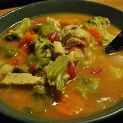 Chili Chicken Stew Recipe - Chicken broth and condensed cream of chicken soup form the base for this chicken stew with stewed tomatoes and mixed vegetables.