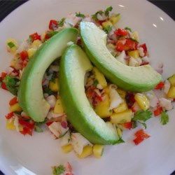Crab & Avocado Salad with Fruit Salsa Recipe - My crab salad with fruity-salsa flavorings is simple and appealing. Sliced avocados anchor and enrich this lively, colorful dish. If possible, select lump or backfin crab. The larger the crab chunks, the fewer shell fragments to pick out.