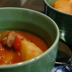 Baked Beef Stew Recipe - Cubed beef, carrots, potatoes, celery and onions  baked in a thick tomato and beef bouillon sauce.