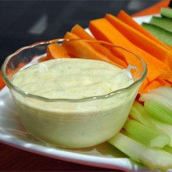 Vegetable Dip Recipe - This mayo-based dip gets its golden color from curry powder and its bite from horseradish and tarragon vinegar. Serve with any vegetable dippers.