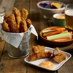 Pork Fries Recipe - Thin strips of seasoned pork tenderloin with a panko crust are fried up, crisp and delicious, and served with your favorite dipping sauces.