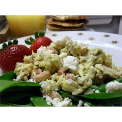 Ham, Basil, and Feta Scrambled Eggs Recipe - These delicious and savory scrambled eggs are  easy to make.