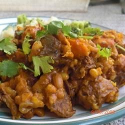 Funky Cholent Recipe - A slow-cooked stew of beef, potatoes, beans, and barley, beloved as a Sabbath dinner, gets some new flavors in this less traditional version.
