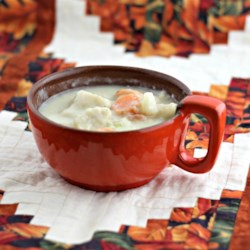 Cheesy Potato Knipla Soup Recipe - This is a cheesy vegetable soup with swimming with small dumplings.  A German favorite of my Grandma's with an American twist!
