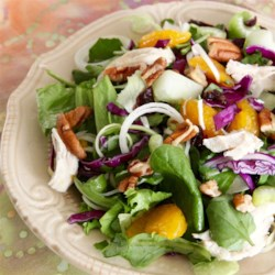 Chicken Chow Mein Salad Recipe - Chicken, red cabbage, mandarin oranges, and pecans are tossed together in this quick and easy chicken chow mein salad.