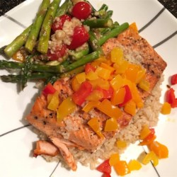 Pan Seared Salmon II Recipe - Pan fried salmon filets with a garlic and lemon sauce, covered with bell peppers.