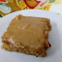 Michigan Maple Peanut Butter Sheet Cake Recipe - This rich peanut butter cake is topped with a maple syrup-flavored frosting filled with walnuts, pecans, almonds, and more peanuts.