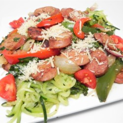 "Zucchini Noodles and Summer Vegetables with Sweet Pepper Chicken Sausage Recipe - Zucchini noodles, also known as ""zoodles"", are tossed with chicken sausage and vegetables creating a quick and easy, grain-free, gluten-free meal."