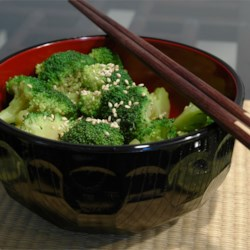 Sesame Broccoli Salad Recipe - This bright green salad features blanched broccoli tossed in a light sesame dressing with toasted sesame seeds. Quick and delicious!