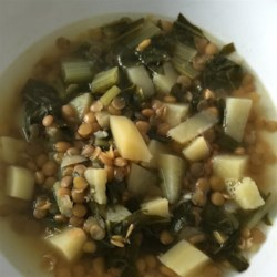 Chard Lentil Soup Lebanese Style Recipe - Find an easy-to-prepare recipe for a Lebanese-style lentil soup with Swiss chard, potatoes, and plenty of garlic and lemon juice right here.