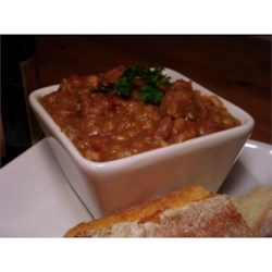 Beef, Bean and Barley Stew Recipe - Beef stew meat, great Northern beans and quick cooking barley go into this quick stew seasoned with oregano, basil, rosemary and caraway.