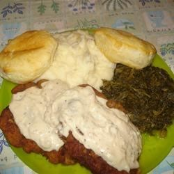 Chicken Fried Steak II Recipe - Green hot pepper sauce sparks the flavor here. Pounded round steaks dipped in evaporated milk, flour, then pan fried.