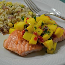 Chef John's Salmon Mango Bango Recipe - The tropical flavor of mango combined with pepper jam and lime is a wonderful topping for salmon in Chef John's recipe for salmon mango bango.