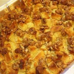 Sweet Potato, Pear and Pineapple Bread Pudding Recipe - This bread pudding can be served as a decadent side dish or dessert. Creamy sweet potatoes, silky pears and tart pineapple with a pecan streusel topping.  If serving for dessert, add chilled whipped cream. This casserole is quick and easy to make and also travels very well.