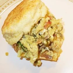 Green Eggs and Ham Breakfast Sandwich Recipe - This biscuit breakfast sandwich is made with green chiles, bacon, jalapenos, onions, eggs, and Jack cheese.  Get up and go with some spice! I prefer to roast my own green chiles, but you can use a can of green chile.