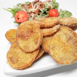 Rhonda's Fried Green Tomatoes Recipe - Try this simple recipe for crisp and tasty fried green tomatoes.