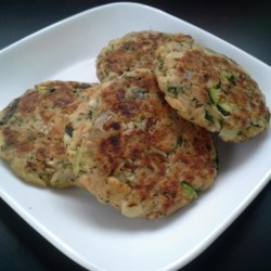 Tuna Fish Patties Recipe - Pan-fried tuna patties with spinach, celery, zucchini, onion, and mushrooms are the result of this recipe suitable to adjusting to incorporate whatever vegetables you have available.