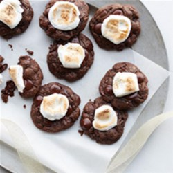 Hot Chocolate and Toasted Marshmallow Cookies Recipe - A lovely, warm holiday cookie, featuring decadent chocolate and an over-the-top twist on 