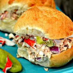 Team Four Tuna Recipe - Tuna salad is spiced up with imitation crab meat and pepperoncinis in these tuna salad sandwiches!