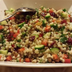 Pearl Couscous Salad Recipe - This lentil and pearl couscous salad with plenty of vegetables and a vinaigrette dressing is similar to salads you'd find in the fancy deli section at the grocery.