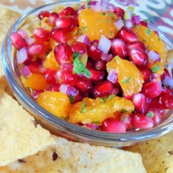 Pomegranate Salsa Recipe - Pomegranate seeds, mandarin oranges, and jalapeno come together in this piquant, colorful, festive salsa recipe, perfect for holiday parties.