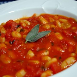 Bean and Tomato Stew with Sage Recipe - White beans and tomatoes combine with the light flavors of white wine, sage, and thyme in a stew with a chili-like consistency. So easy and satisfying.