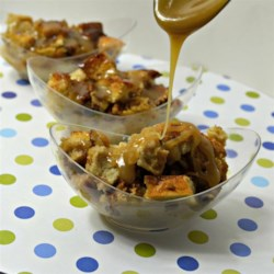 Coffee Liqueur Bread Pudding with Caramel Sauce Recipe - This is a knockout variation on a popular dessert!