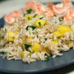 Mango-Lime Rice Recipe - Brown rice accented with lime and mixed with cilantro and mango makes a tasty side dish for fish or chicken.