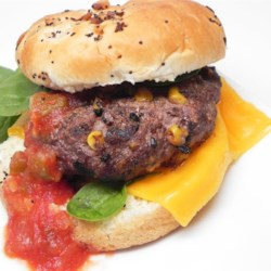 Cumin Corn Burgers Recipe -  Ground beef, corn, cumin, salt and pepper are simply mixed together and formed into patties. Grill and enjoy.