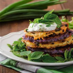 Rainbow Potato Pancakes Recipe - Make amazing potatoes with this healthy dish: Rainbow Potato Pancakes. With a combination of russet and purple potatoes, you can create this savory treat at home in under 20 minutes!