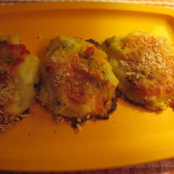 Spicy Jalapeno Cheese Pepper Potato Patties Recipe - Zippy potato patties with green chiles, pickled jalapenos, and Tex-Mex cheese are a terrific use for leftover mashed potatoes.
