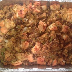 Best-Ever Cornbread-Sausage Stuffing Recipe - A savory stuffing made with corn bread and spicy pork sausage has a lot of possible make-ahead steps, so you can get it ready in plenty of time for the Big Day.