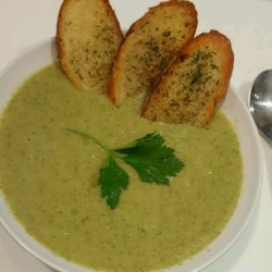 Broccoli Soup Recipe - Broccoli and potatoes are pureed with garlic and onions, and seasoned with a hint of nutmeg.