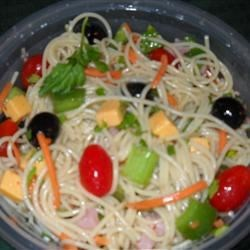Cold Spaghetti Salad Recipe - A zesty pasta salad with pepperoni, mushrooms, green olives, and tomatoes. Ready to eat right away, or even better marinated overnight.