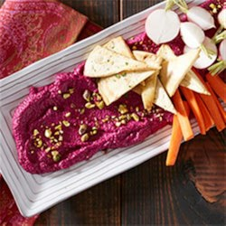 Roasted Beet and Goat Cheese Dip with Pistachios Recipe - Surprise your guests with this colorful holiday appetizer from Beth Kirby of Local Milk.