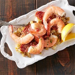 Shell on Shrimp with Corn, Potatoes and Chorizo Recipe - Get a taste of land, sea, and everything in between with this light and flavorful dish from April Bloomfield from the Spotted Pig NYC.