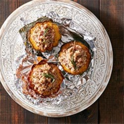 Stuffed Squash with Bacon, Dates and Sage Recipe - Have some fun with your holiday menu and try this whimsical side from Eva Kosmas Flores of Adventures In Cooking.