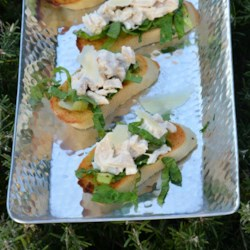 Chicken Caesar Toasts Recipe - Mini chicken Caesar salads make a popular appetizer.