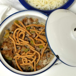 Ground Beef Chinese Casserole Recipe - A topping of crispy chow mein noodles gives texture to this ground beef casserole which uses cream of mushroom and celery soups.